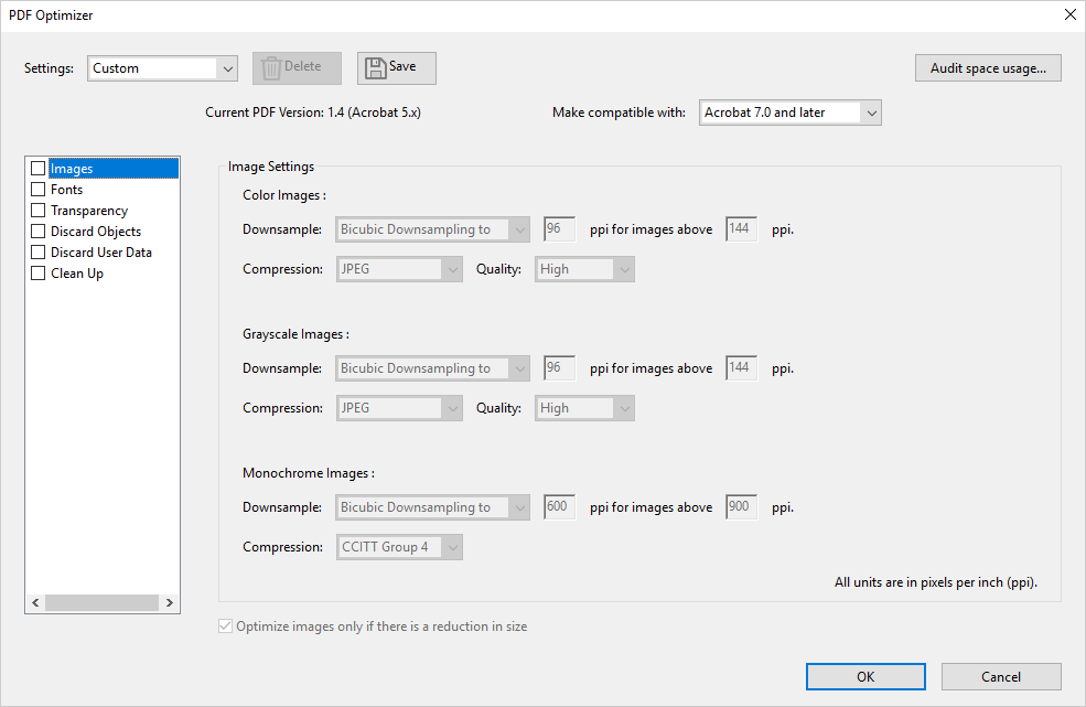 """PDF Optimizer"" panel of Adobe Acrobat DC."