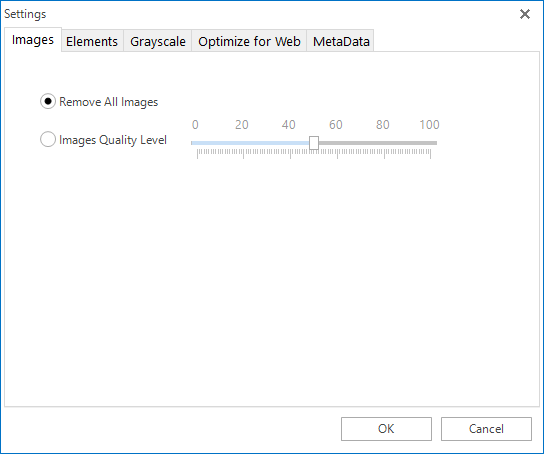 """Remove All Images"" option of PDF Compressor V3."