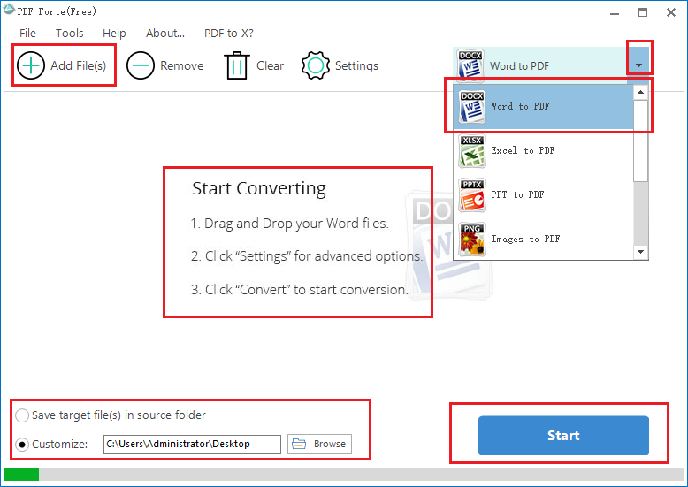 Convert word to pdf with PDF Forte.