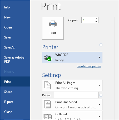 "Select the ""Win2PDF"" printer."